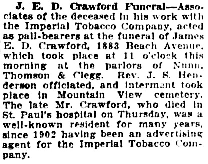 Vancouver Daily World, June 12, 1920, page 15, column 4.