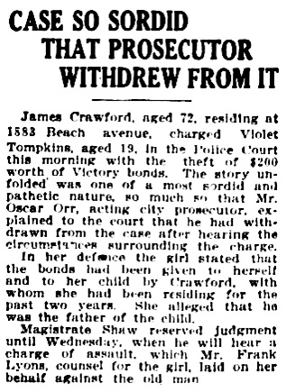 Vancouver Province, August 25, 1919, page 14, column 7.