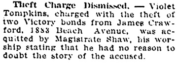 Vancouver Daily World, August 27, 1919, page 9, column 3.