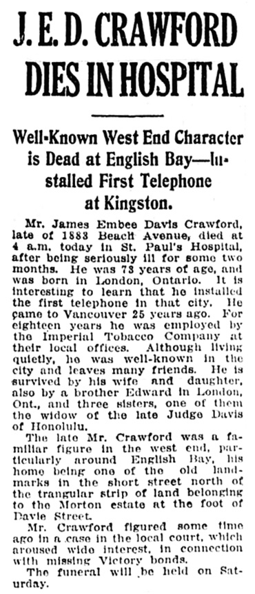 Vancouver Daily World, June 10, 1920, page 19, column 4.