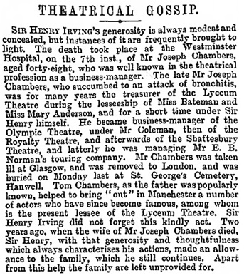 The Era (London, England), April 16, 1898, page 12, column 1.