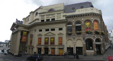 Lyceum Theatre, Wellington Street and Exeter Street, London, England; Google Streets; searched April 6, 2019; image dated October 2008.