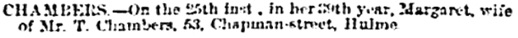 Births, Deaths, Marriages and Obituaries, Manchester Courier and Lancashire General Advertiser, September 27, 1862, page 11, column 6.