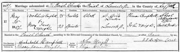 Ancestry.com. Norfolk, England, Church of England Marriages and Banns, 1754-1940 [database on-line]. Provo, UT, USA: Ancestry.com Operations, Inc., 2016. Norfolk Record Office; Norwich, Norfolk, England; Reference: PD 589/28. Name: Mary Jane Wright; Gender: Female; Age: 23; Birth Date: abt 1864; Marriage Date: 30 May 1887; Marriage Place: Lowestoft, St Margaret, Suffolk, England. Father: John Wright; Spouse: Archibald Campbell.