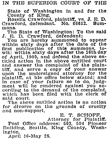 The Seattle Republican, May 21, 1909, page 2, column 2.
