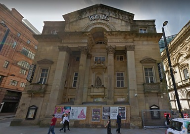 Theatre Royal, southwest corner of Peter Street and Museum Street, Manchester, England; Google Streets, searched April 6, 2029; image dated July 2008.