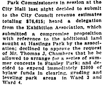 Vancouver Daily World, February 27, 1913, page 8, column 3 (portion of article).