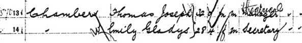 """New York Passenger Arrival Lists (Ellis Island), 1892-1924"", database with images, FamilySearch (https://familysearch.org/ark:/61903/1:1:JXBJ-C36 : 30 January 2018), Thomas Joseph Chambers, 1909."