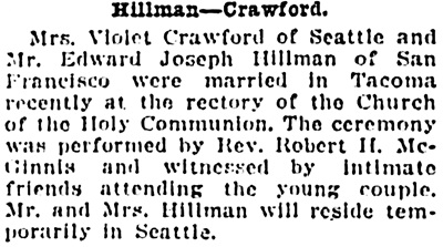 Vancouver Province, October 10, 1925, page 8, column 6.
