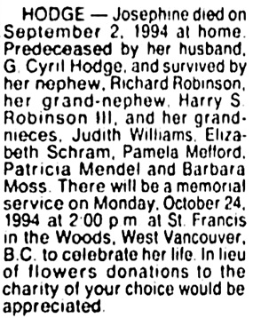 Josephine Hodge - death notice - Vancouver Sun - October 17 1994 - page 14 - column 4
