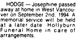 Josephine Hodge - death notice - Vancouver Sun - September 6 1994 - page 22 - column 4