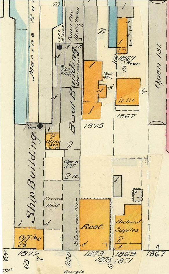 1877 - 1873 - 1875 - 1869 - 1871 - 1867 Georgia Street - detail from Goad's Atlas of Vancouver, Volume 1; Plate 42