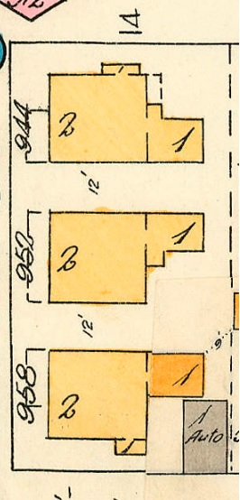 944 Denman Street - 952 Denman Street - 958 Denman Street - detail from Goad's Atlas of Vancouver - Plate 55