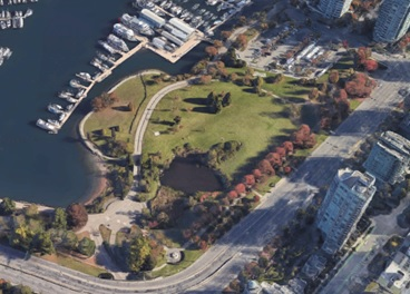 Devonian Harbour Park - 1800 and 1900 Block - north side of Georgia Street - looking north-east - Google Maps - 3D view - searched December 15 2019