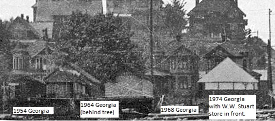 1900 block Georgia Street - about 1909 - detail from Man in scull on south side of Coal Harbour - Vancouver City Archives