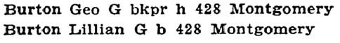 Geo G Burton and Lillian G Burton - Portland - Oregon - City Directory - 1913 - pages 266-267