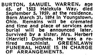 Samuel Warren Burton - death notice - Honolulu Star-Bulletin - Honolulu - Hawaii - September 9 1959 - page 59 - column 2