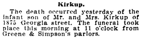 Sidney Kirkup - infant son - death notice - Vancouver Province - February 2 1910 - page 12 - column 4