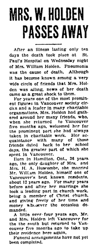 Mrs William Holden - death - Vancouver Daily World - April 26 1923 - page 1 - column 3