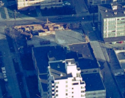 2020 Comox Street - under construction - about 1968 - detail from Vancouver skyline - aerial photograph - Vancouver City Archives - CVA 1435-87