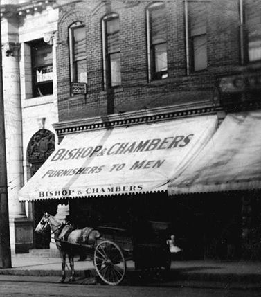 Bishop and Chambers - men's furnishings - detail from Corner of Westminster Avenue - later Main Street - and Hastings Street - Vancouver - BC - about 1906 - Vancouver City Archives - CVA 677-590