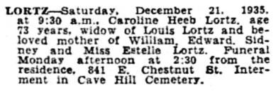 Caroline Heeb Lortz - death notice - Courier-Journal -Louisville - Kentucky - December 23 1935 - page 13 - column 6