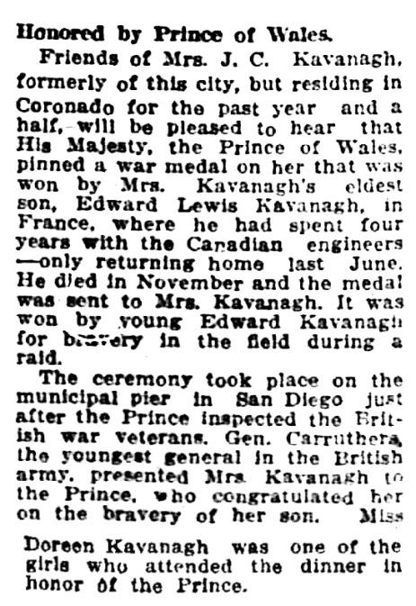 Edward - Edmund Lewis Kavanagh - posthumous medal for bravery - Los Angeles Times - April 18 1920 - part 3 - page 5 - column 5 - part 3 - page 7 - column 1
