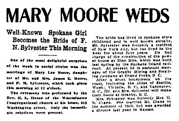 F M Sylvester and Mary Lee Moore - marriage - Spokane Chronicle - December 24 1910 - page 1 - columns 6-7