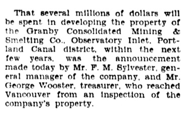 F M Sylvester - Granby Consolidated Mining and Smelting - Vancouver Province - July 22 1931 - page 24 - column 3