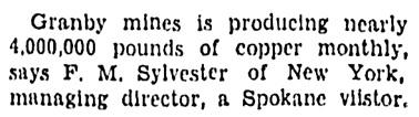 F M Sylvester - Granby mines - Spokane Spokesman-Review - September 8 1936 - page 22 - column 8