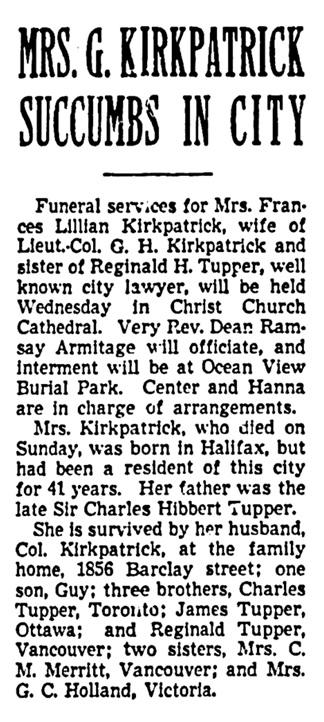 Frances Lillian Kirkpatrick - obituary - Vancouver Province - July 30 1940 - page 7 - column 3