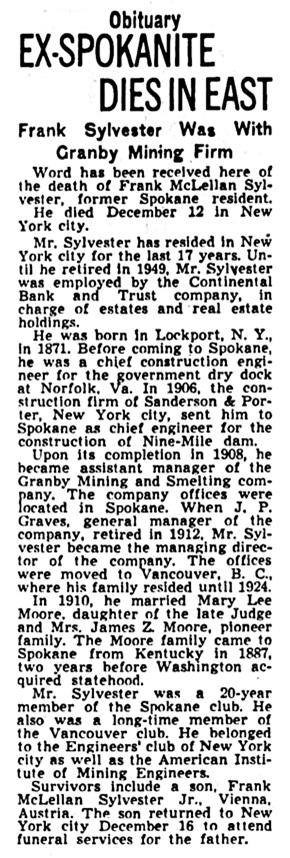 Frank McClellan Sylvester -obituary - Spokane Spokesman-Review - December 19 1950 - page 6 - column 4