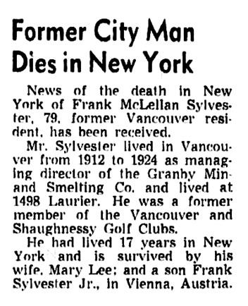 Frank McClellan Sylvester -obituary - Vancouver Sun - December 20 1950 - page 5 - column 6