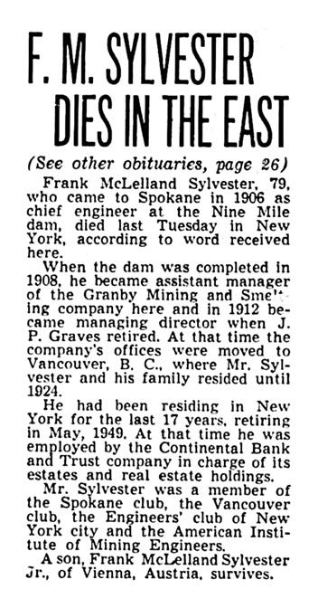 Frank McLelland - McClellan - Sylvester - obituary - Spokane Chronicle - December 19 1950 - page 53 - column 2