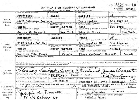Frederick James Bassett and Rosemary Lambert Evans - marriage - December 17 1955