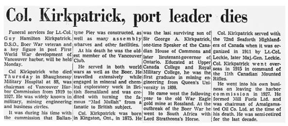 Guy Hamilton Kirkpatrick - obituary - Vancouver Province - December 21 1963 - page 18 - columns 5-8