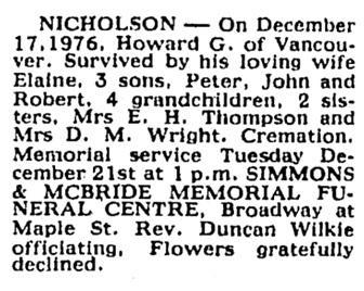 Howard G Nicholson - death notice - Vancouver Sun - December 20 1976 - page 45 - column 4