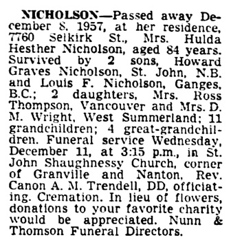 Hulda Hesther Nicholson - death notice - Vancouver Province - December 10 1957 - page 28 - column 3