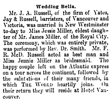 J A Russell and Jessie Miller - Millar - marriage - Vancouver Daily World - August 17 1892 - page 8 - column 2
