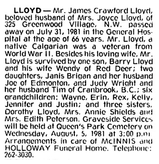 James Crawford Lloyd - death notice - Calgary Herald - August 1 1981 - page 3 - column 2