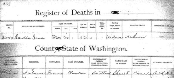 James Rankin - death date - May 20 1898