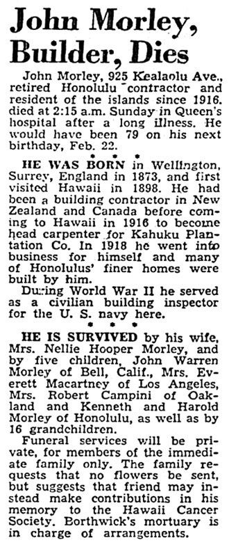 John Morley - obituary - Honolulu Advertiser - February 4 1952 - page 9 - column 7