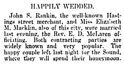 John S Rankin and Elizabeth M Macklin - marriage - Vancouver Daily World - December 23 1898 - page 3 - column 2