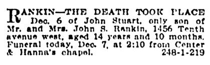 John Stuart Rankin - death notice - Vancouver Province - December 7 1918 - page 21 - column 1