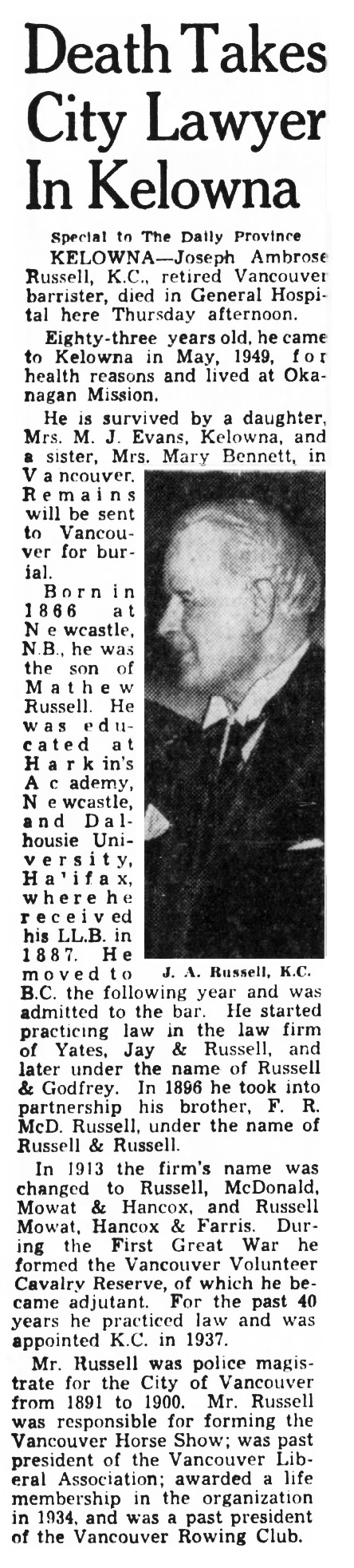 Joseph Ambrose Russell - obituary - Vancouver Province - December 16 1949 - page 42 - column 1