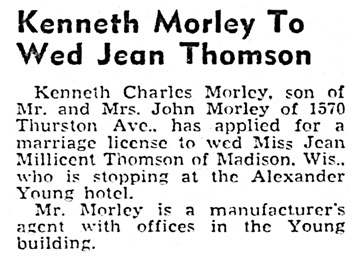 Kenneth Charles Morley and Jean Millicent Thomson - marriage license - Honolulu Star-Bulletin - March 22 1940 - page 1 - column 5