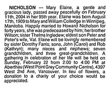 Mary Elaine Nicholson - death notice - Vancouver Sun - February 18 2004 - page E8 - column 3