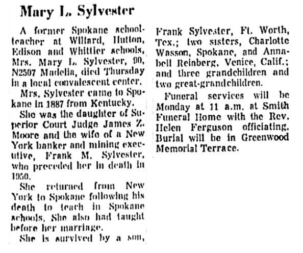 Spokane Spokesman-Review, September 30, 1973, page 15, columns 1-2.