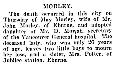 May Morley - obituary - Vancouver Daily World - September 20 1907 - page 13 - column 5