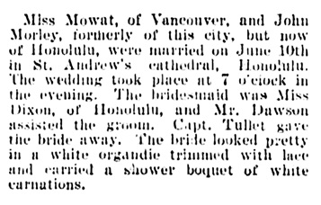 Vancouver Daily World, July 6, 1901, page 3, column 5.